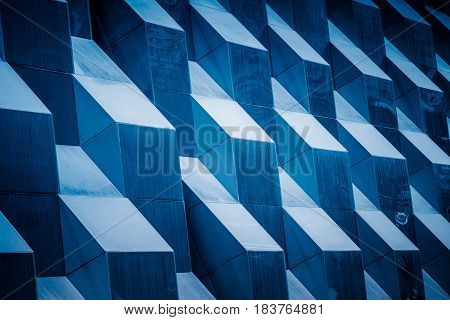 detail shot of modern architecture facadebusiness concepts in blue toneshot in city of China.