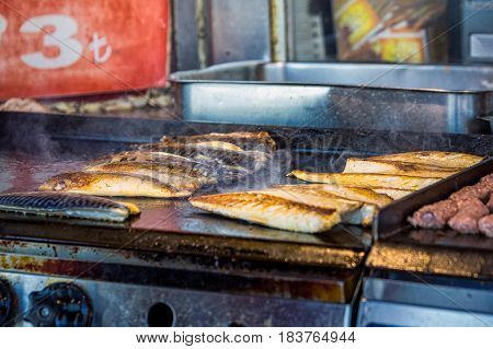 Popular dish of fresh fish grilled at Istanbul, Turkey.