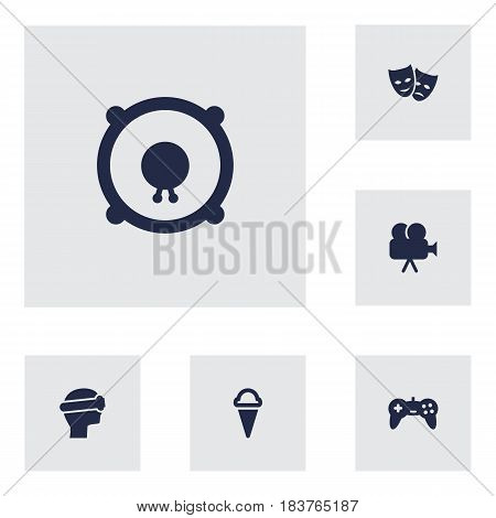 Set Of 6 Amusement Icons Set.Collection Of Joystick, Theater, Cyberspace And Other Elements.