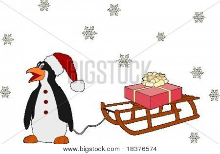 penguin like Santa with  present