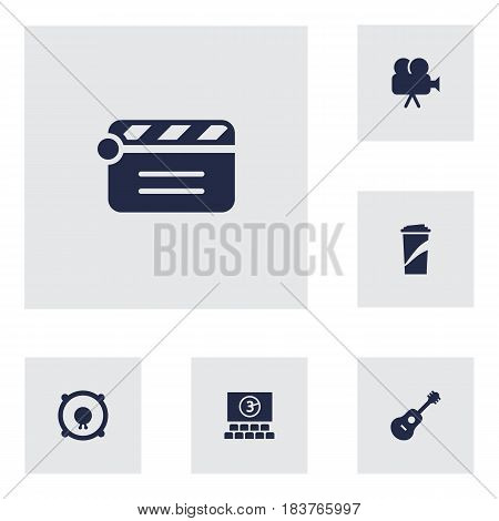 Set Of 6 Entertainment Icons Set.Collection Of Beverage, Action, Acoustic And Other Elements.