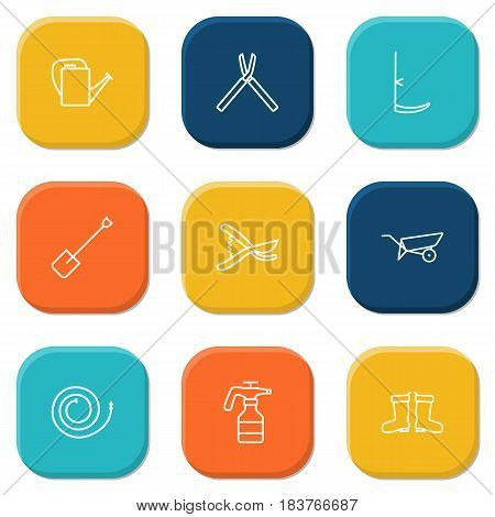 Set Of 9 Household Outline Icons Set.Collection Of Scythe, Shears, Secateurs And Other Elements.