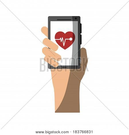mobile heart rate monitor icon image vector illustration design