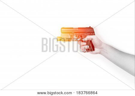 Male Hand Hold Pistol Gun or Automatic Handgun with light fire isolated on white.
