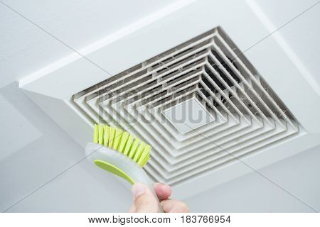 Cleaning Dust Out From Air Duct With Brush, Danger For Health And The Cause Of Pneumonia In Office P