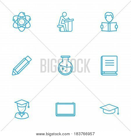 Set Of 9 Science Outline Icons Set.Collection Of Pencil, Atom, Learning And Other Elements.