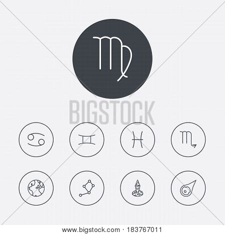 Set Of 9 Astrology Outline Icons Set.Collection Of Astrologer, Cancer, Gemini And Other Elements.