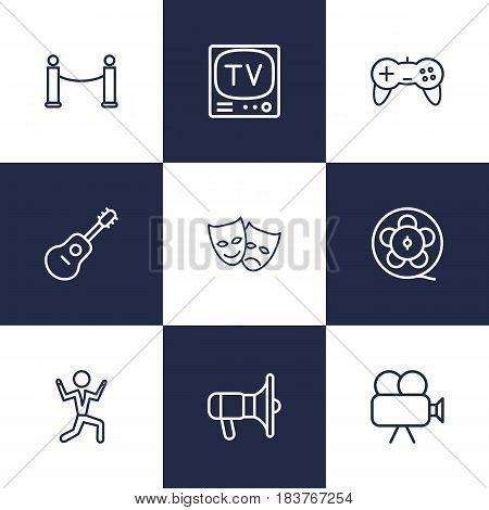 Set Of 9 Entertainment Outline Icons Set.Collection Of Movie Cam, Guitar, Masks And Other Elements.