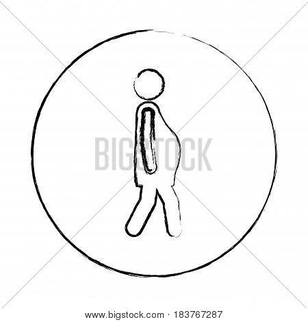 blurred circular frame silhouette pictogram woman pregnant walking vector illustration