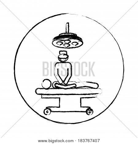 blurred circular frame silhouette pictogram patient in surgery icon flat vector illustration