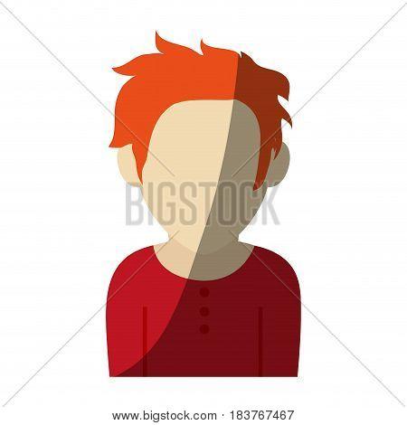 faceless man with scruffy orange hair icon image vector illustration design