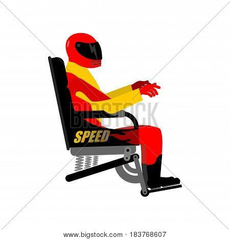 Racer In Chair Isolated. Rider In Helmet And Equipment