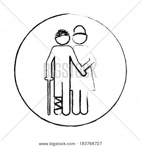 blurred circular frame silhouette pictogram nurse with bandaged patient vector illustration