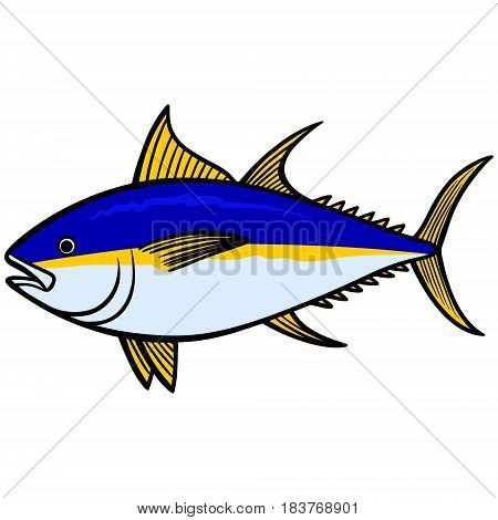 A vector illustration of a Yellowfin Tuna.