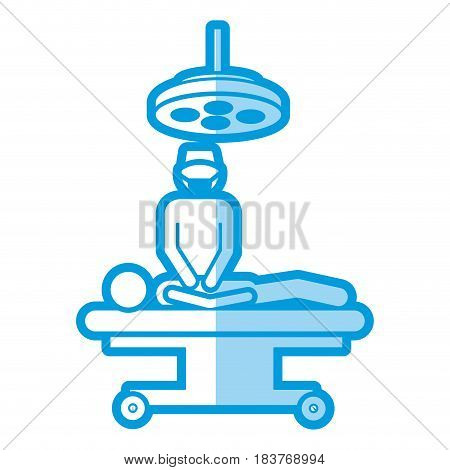 blue shading silhouette pictogram patient in surgery icon flat vector illustration