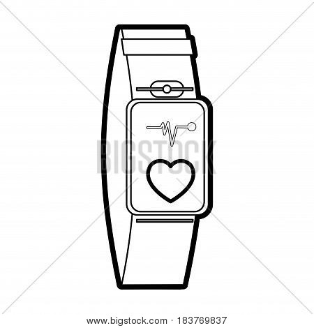 mobile heart rate wrist monitor icon image vector illustration design  black line