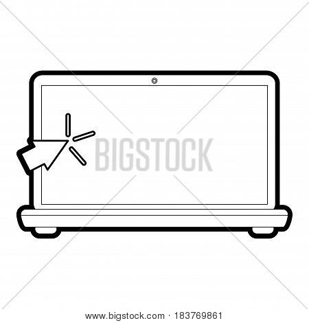laptop computer with mouse pointer icon image vector illustration design  black line