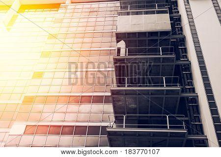 new modern industrial building glass windows with sun light
