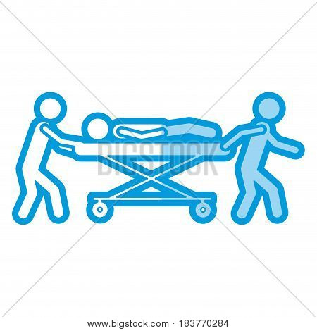 blue shading silhouette pictogram paramedics with patient in stretcher vector illustration