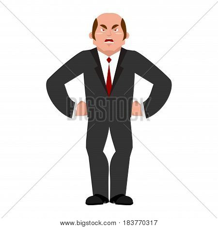 Angry Businessman. Aggressive Boss. Evil Manager Isolated
