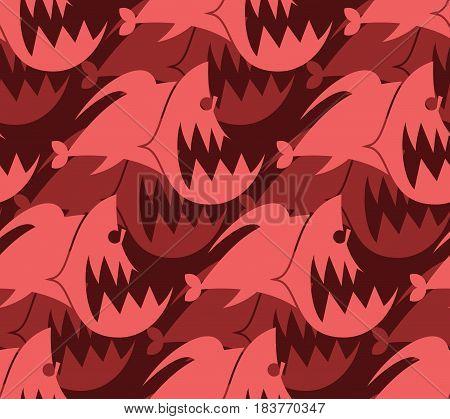 Piranha Seamless Pattern. Marine Predator Fish Amazon Texture. Toothy River Animal Background