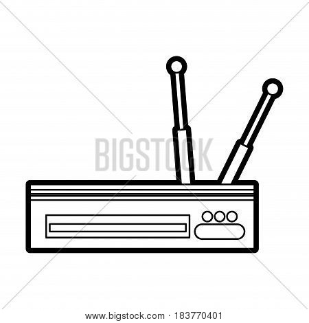 wifi router icon image vector illustration design  black line