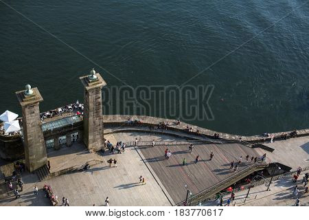 PORTO, PORTUGAL - APR 9, 2017: Top view of Ribeira at Douro river. City of Porto was elected from 20 selected Best European Destination 2017 and won this prestigious title.