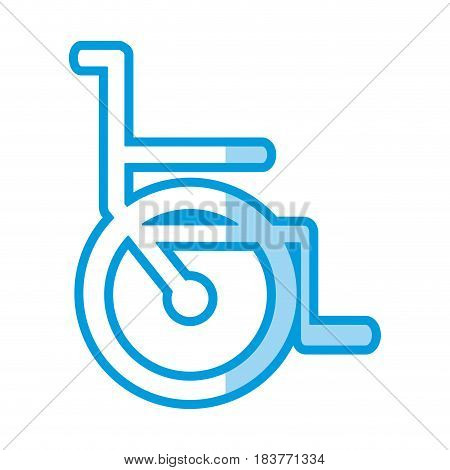 blue shading silhouette abstract wheelchair flat icon vector illustration
