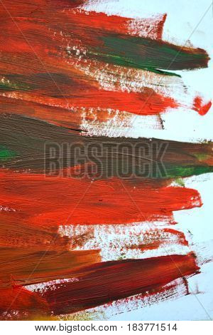 Brush strokes multicolored oil paint macro. Motley Abstract creative background. Isolated on white background.