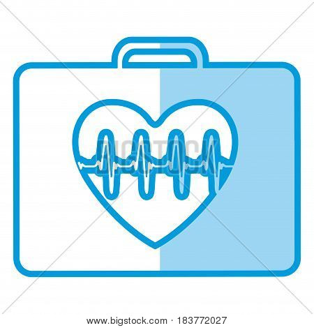 blue shading silhouette firts aid kit with symbol line of vital sign in heart vector illustration