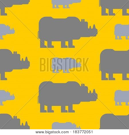 Rhinoceros Seamless Pattern. Wild Beast Herd Ornament. Animal Background