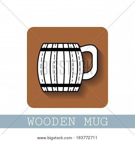 Wooden mug for beer, drinks. Black and white flat icon with shadow