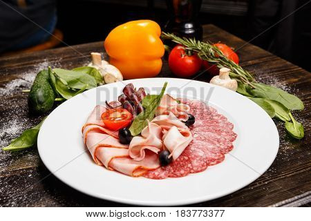 Dish With Sliced Meat Products