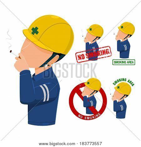 set of No smoking icon on transparent background