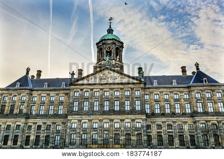 Royal Palace Town Hall Amsterdam Holland Netherlands. Opened up as a town hall in 1655. The Ship Weather Vane is a symbol of Amsterdam.