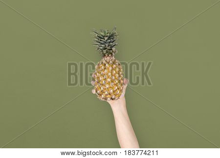 Human Hand Holding Pineapple Fruit Nutrition