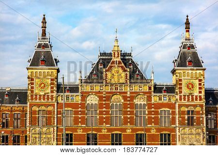 Royal Palace Town Hall Amsterdam Holland Netherlands. Opened up as a train station in 1889. town hall in 1655. 162000 go through the train station today.
