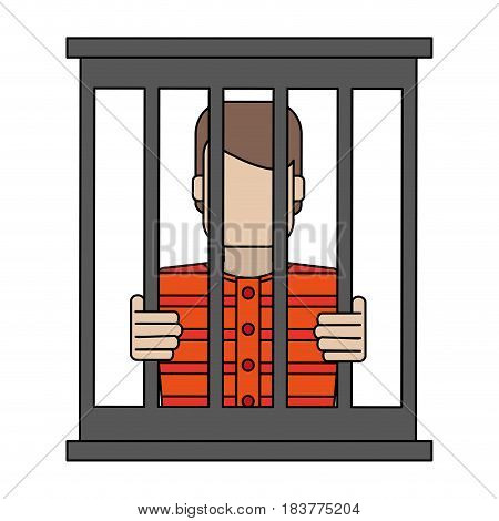 color graphic faceless man in jail behind bars vector illustration