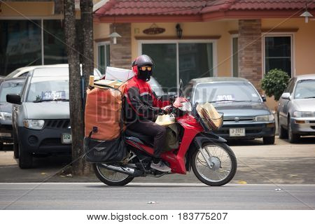 Postman And Motercycle Of Thailand Post.