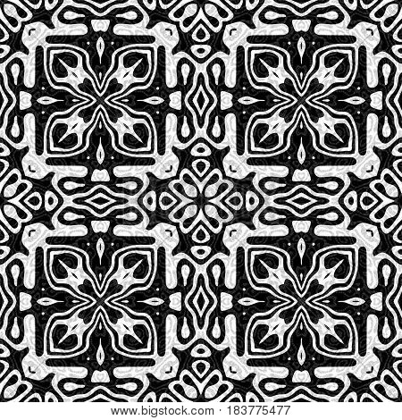 Abstract black and white tile pattern, Floral tiled texture background, Retro seamless illustration