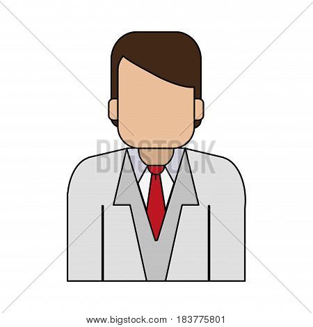 color graphic half body faceless man with executive suit vector illustration