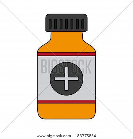 color graphic remedy bottle with tap and label vector illustration