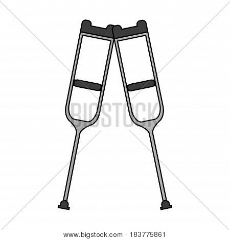 color graphic pair of medical crutches icon vector illustration