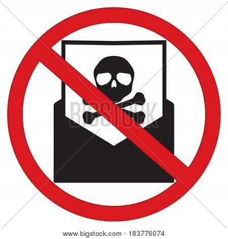 No spam email with skull and cross bones computer virus in restrict sign isolated on white background. Vector illustration prohibited circle design.