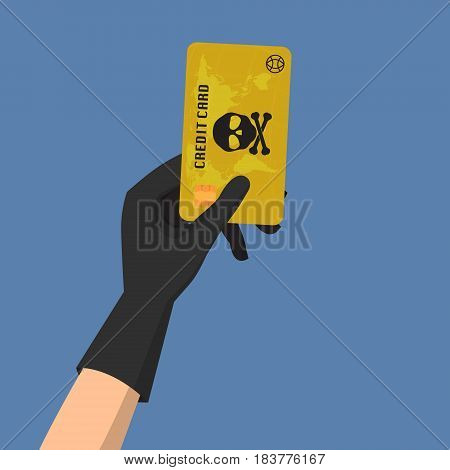 Hacker theft hand holding a credit card fraud with skull and crossbones on blue background. Vector illustration business data privacy concept.