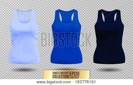 Blank sport tank top for women template set. Light, bright and dark blue colors. Vector objects on transparent background.