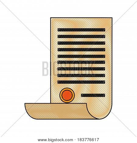 color blurred stripe of certificate in old paper with stamp vector illustration