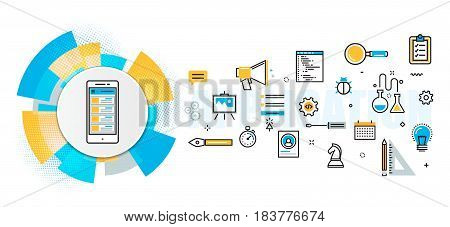 Flat line vector design concept of mobile application development process app design programming coding building debugging banner for website header and landing page in circles digital element