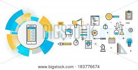Flat line vector design concept of mobile application development process app design programming coding building debugging banner for website header and landing page in circles digital element