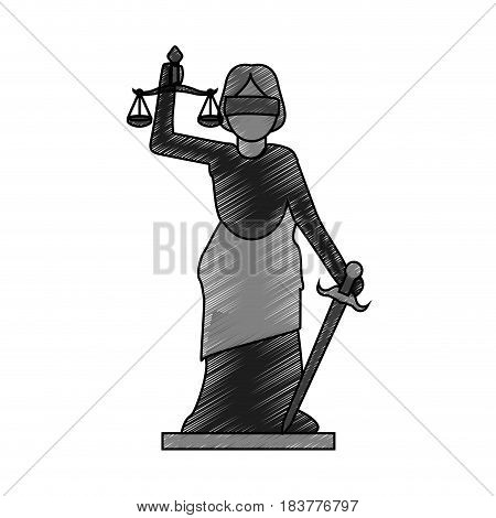 color blurred stripe of goddess of justice symbol vector illustration